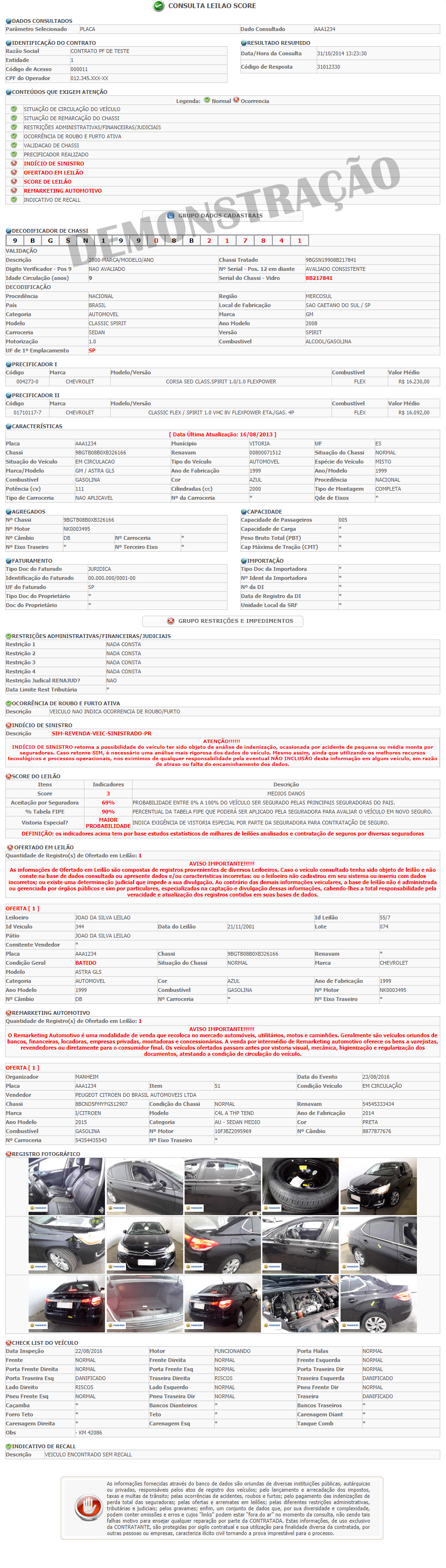 Modelo da Consulta Leilão Score